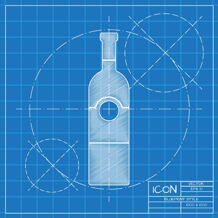 vino: Vector blueprint vine bottle template on engineer or architect background. Illustration