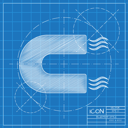 electromagnetic field: Vector blueprint magnet icon on engineer or architect background. Illustration