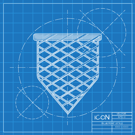 nylon: Vector blueprint scoop-net icon on engineer or architect background.