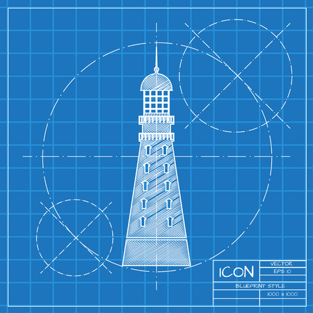 hope symbol of light: Vector blueprint lighthouse icon on engineer or architect background.