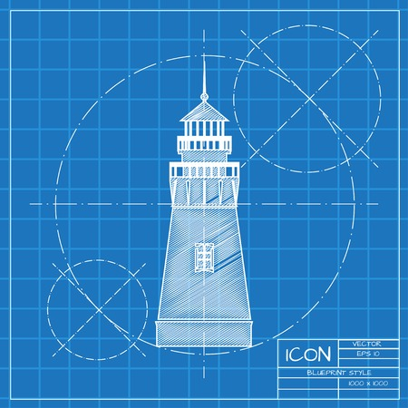 lighthouse keeper: Vector blueprint lighthouse icon on engineer or architect background.