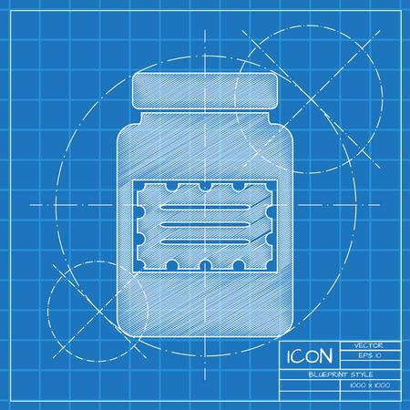 unlabeled: Vector blueprint kitchen bottle template on engineer or architect background. Illustration