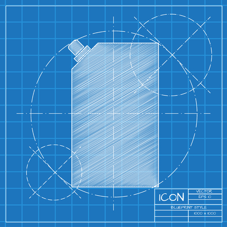 Vector blueprint mayonnaise plastic package icon on engineer or architect background.