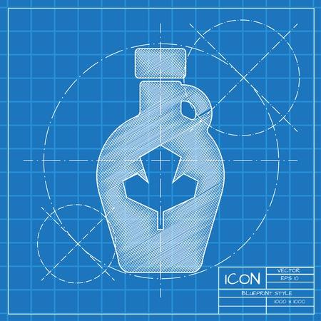 maple syrup: Vector anteproyecto plantilla botella de jarabe de arce en ingeniero o arquitecto fondo. Vectores