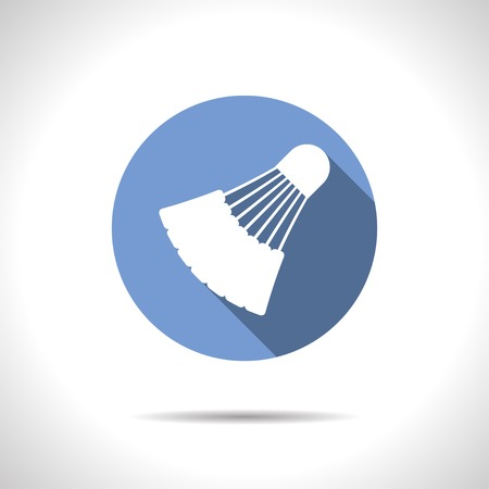 cross match: Vector flat simple badminton icon on color circle