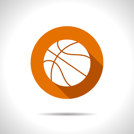 deportes colectivos: Vector flat basketball icon on color circle