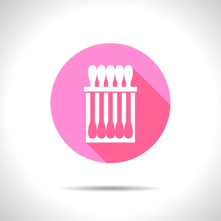 ear bud: Vector flat cotton swabs icon on color circle Illustration