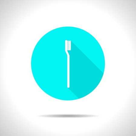 bodycare: Vector flat tooth brush icon on color circle