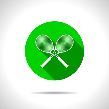 bounces: Vector flat tennis rackets icon on color circle