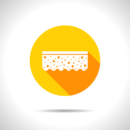 sponge: Vector flat sponge icon on color circle