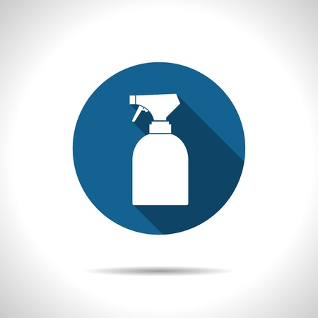 sprayer: Vector flat sprayer bottle on color circle