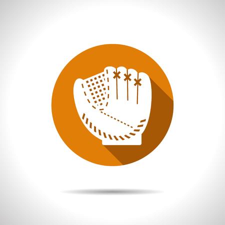 guante de beisbol: Vector guante de b�isbol plana icono en c�rculo de color