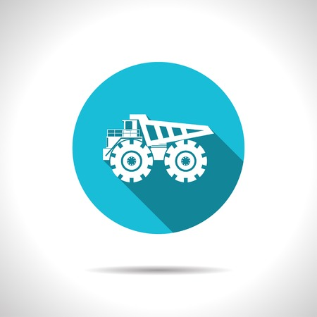 land development: Vector flat heavy machine icon on color circle
