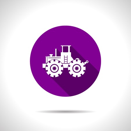 car loader: Vector flat heavy machine icon on color circle