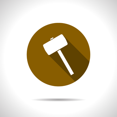 renovate: Vector flat hammer icon on color circle