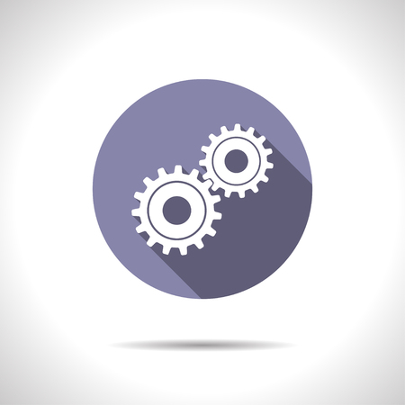 gearing: Vector flat two cogwheels icon on color circle