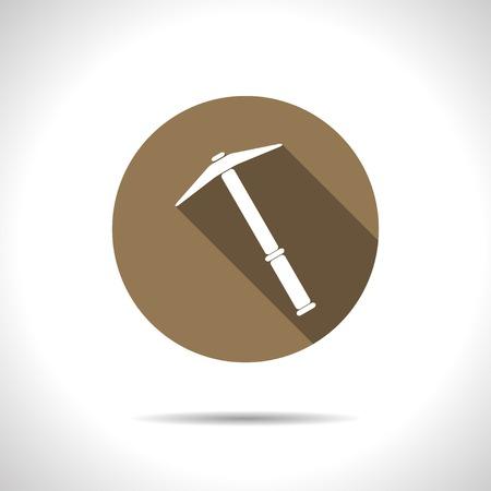 mattock: Vetor flat pick icon on color circle Illustration