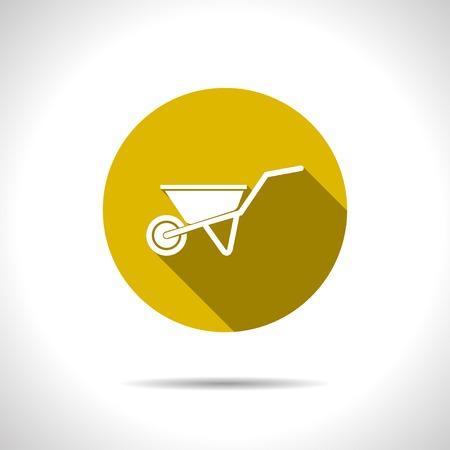 hauling: Vector flat barrow icon on color circle Illustration