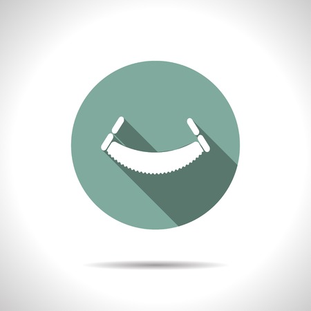 toothed: Vector flat saw icon on color circle . Industrial equipment