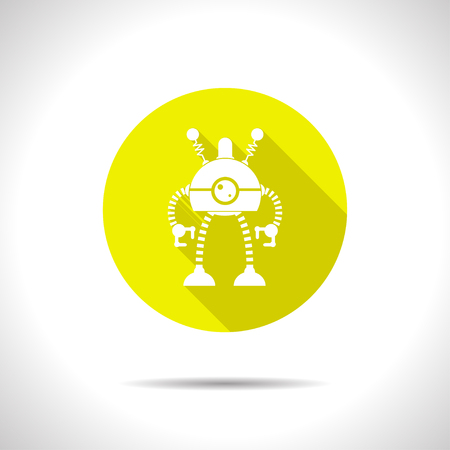robot toy: Vector flat retro robot toy icon on color circle