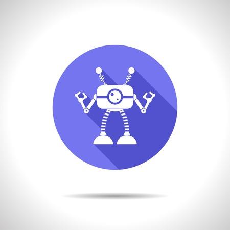 retro robot: Vector flat retro robot toy icon on color circle