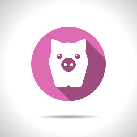 oink: Vector flat pig icon on color circle
