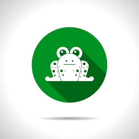 croak: Vector flat frog icon on color circle Illustration