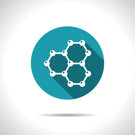 graphene: Vector flat graphene icon on color circle . Science illustration