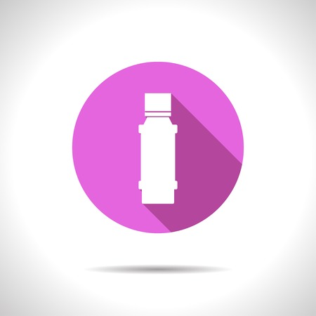 flavorings: Vector flat flavoring bottle on color circle . Kitchen icon