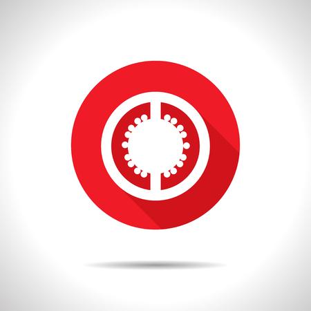 tomato slice: Vector flat tomato slice icon on color circle