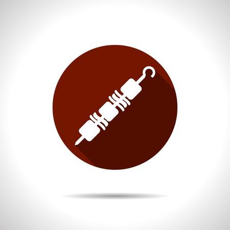 kabob: Vector flat shashlik icon on color circle Illustration