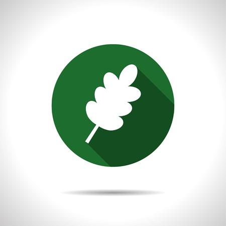 flat leaf: Vector flat leaf icon on color circle Illustration