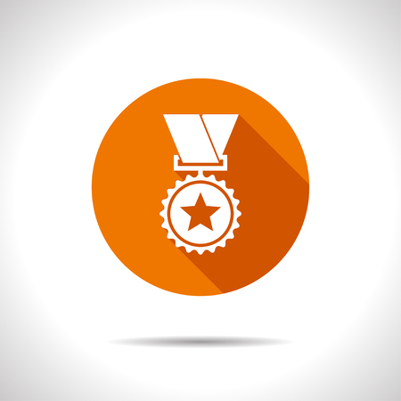award ceremony: Vector flat medal icon on color circle . Winner award