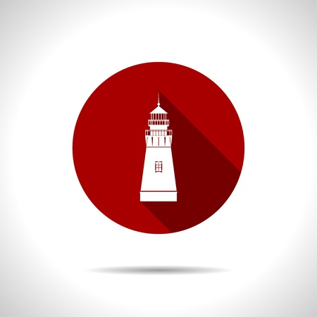 lighthouse keeper: Vector flat lighthouse icon on color circle Illustration