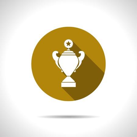 goblet: Vector flat trophy goblet icon on color circle . Winner award