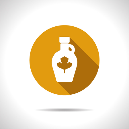 sweetness: Vector flat maple syrup bottle template on color circle Illustration