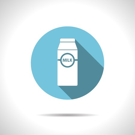 Vector flat milk bottle icon on color circle Illustration
