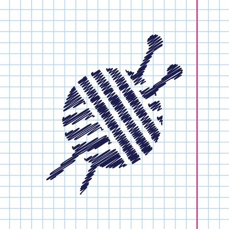 ravel: Vector hand drawn tailor ravel ball of yarn for knitting icon on copybook Illustration