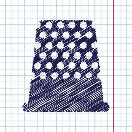 thimble: Vector hand drawn tailor thimble for finger icon on copybook
