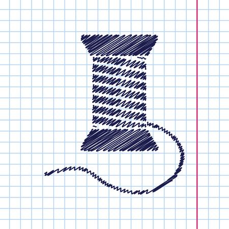 filling line: Vector hand drawn tailor thread bobbin icon on copybook