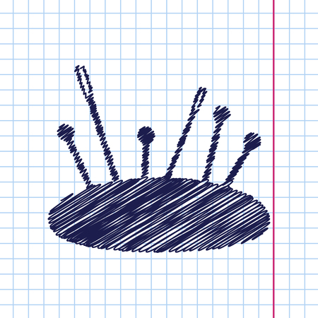 large group of items: Vector hand drawn tailor pins and needles icon on copybook