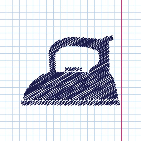 flatiron: Vector hand drawn tailor iron icon on copybook