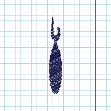 Vector hand drawn tailor seam ripper icon on copybook