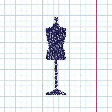 vintage fashion: Vector hand drawn tailor model icon on copybook Illustration