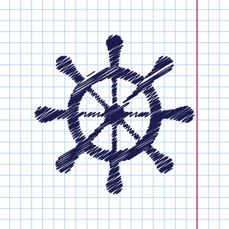 schooner: Vector hand drawn steering wheel icon on copybook