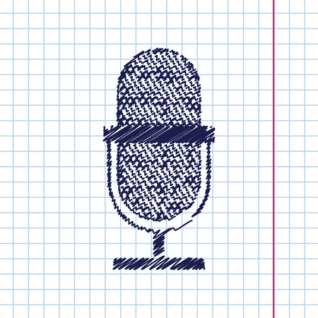 oldie: Vector hand drawn retro microphone icon on copybook Illustration