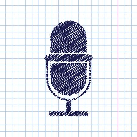 Vector hand drawn retro microphone icon on copybook Illustration