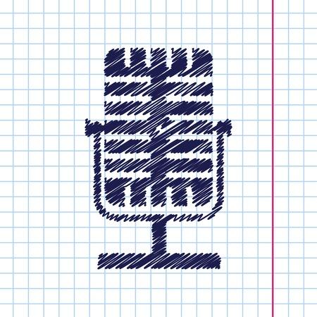entertaining presentation: Vector hand drawn retro microphone icon on copybook Illustration