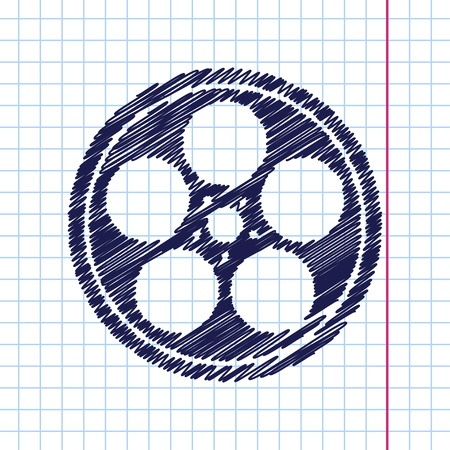 bobbin: Vector hand drawn retro bobbin icon on copybook
