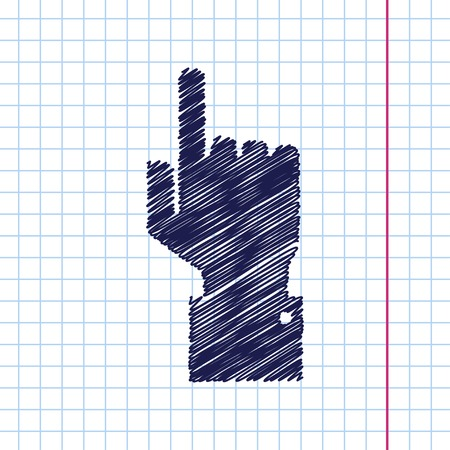 help section: Vetor hand drawn hand pointer icon on copybook